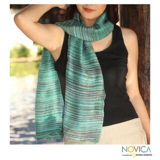 Handcrafted Silk 'Mae Nam Khong Valley' Batik Scarf (Thailand)