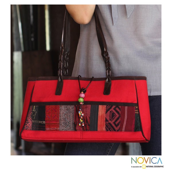 Cotton Leather Accent 'Red Thai Spice' Medium Shoulder Bag (Thailand)