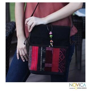 Cotton Leather Accent 'Dokmai Black' Medium Shoulder Bag (Thailand)