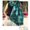 Handcrafted Silk 'Emerald Illusion' Scarf (Thailand)