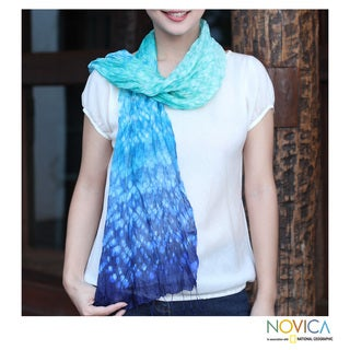 Handcrafted Rayon Silk Blend 'Fabulous Sea' Tie-dyed Scarf (Thailand)