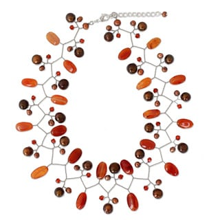 Cultured Pearl 'Orange Glam' Carnelian Choker (4-8 mm) (Thailand)