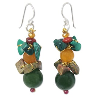 Sterling Silver 'Lanna Harmony' Multi-gemstone Earrings (Thailand)