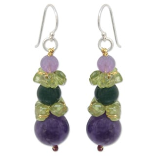 Sterling Silver 'Thai Harmony' Multi-gemstone Earrings (Thailand)