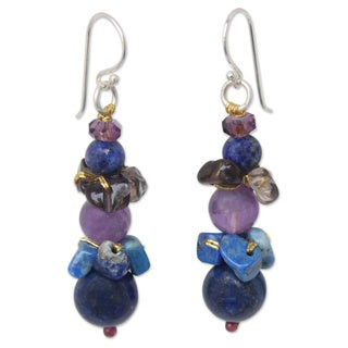 Sterling Silver 'Siam Harmony' Multi-gemstone Earrings (Thailand)