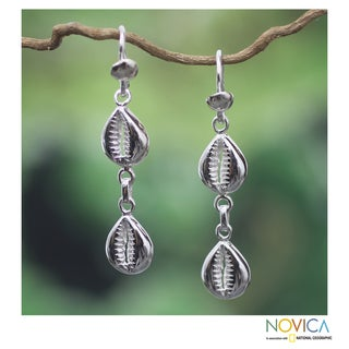 Handcrafted Sterling Silver 'Double Abundant Cowrie' Earrings (Ghana)