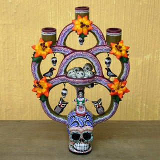 Ceramic 'Day of the Dead Tree of Life' Large Sculpture (Mexico)