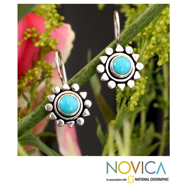 Sterling Silver Earrings 'Aztec Star' Turquoise Earrings (Mexico)