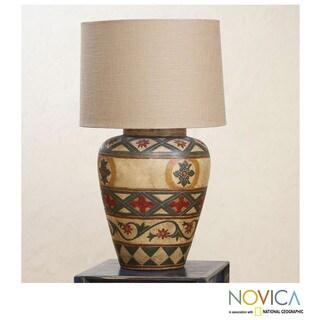 Handcrafted Ceramic 'Diamond Blossom' Lamp (Mexico)