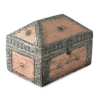 Mango Wood and Nickel-plated Brass 'Palatial' Jewelry Box (India)