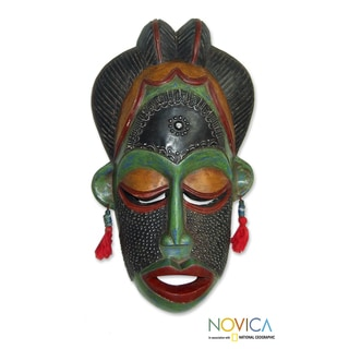 Handcrafted Sese Wood Brass 'Thank You Nature' Africa Mask (Ghana)