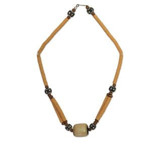 Handcrafted Bone 'Yellow Laafi' Terracotta Beaded Necklace (Ghana)