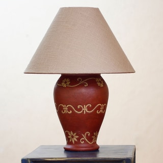 Handcrafted Ceramic 'Pomegranate Blooms' Lamp (Mexico)