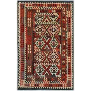 Afghan Hand-woven Kilim Rose/ Olive Wool Rug (5'9 x 9)