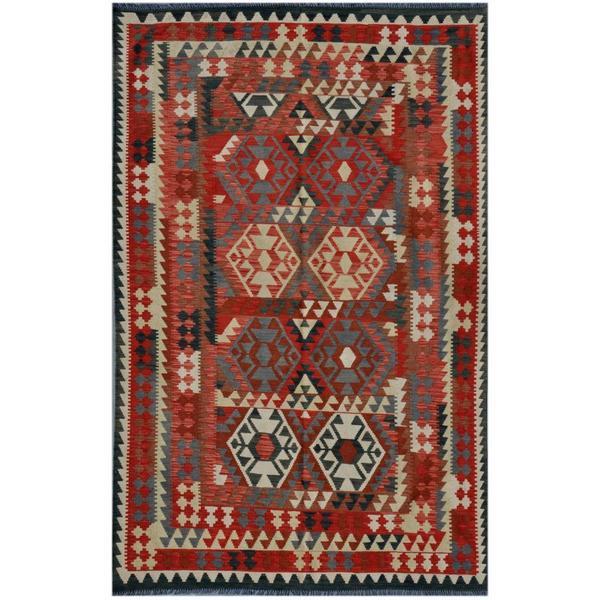 Afghan Hand-woven Kilim Red/ Rose Wool Rug (5'10 x 9'3)