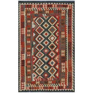 Afghan Hand-woven Kilim Rose/ Olive Wool Rug (5'8 x 8'11)