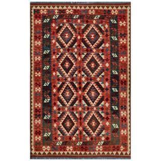 Afghan Hand-woven Kilim Salmon/ Turquoise Wool Rug (5'5 x 8'5)