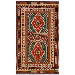 Afghan Hand-woven Kilim Red/ Olive Wool Rug (5'1 x 8'6)