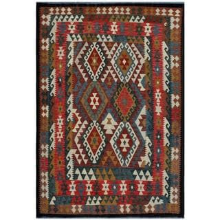 Afghan Hand-woven Kilim Red/ Turquoise Wool Rug (5'8 x 8'1)
