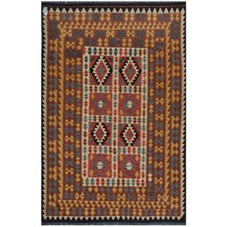 Afghan Hand-woven Kilim Gold/ Brown Wool Rug (6' x 9')