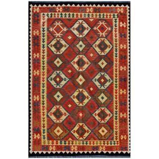 Afghan Hand-woven Kilim Red/ Ivory Wool Rug (8'3 x 10'2)