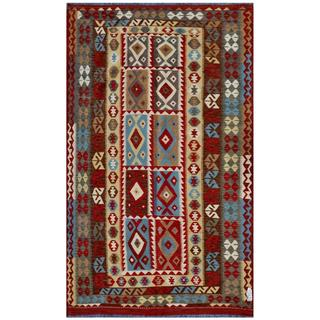 Afghan Hand-woven Kilim Red/ Brown Wool Rug (7'7 x 10'10)