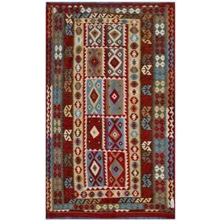 Herat Oriental Afghan Hand-woven Kilim Red/ Brown Wool Rug (7'7 x 10'10)