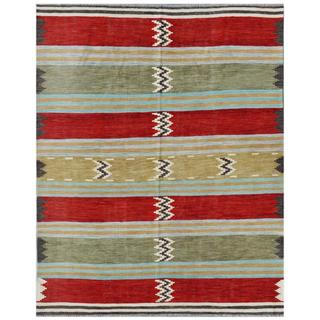 Afghan Hand-woven Kilim Red/ Tan Wool Rug (8'4 x 12'10)