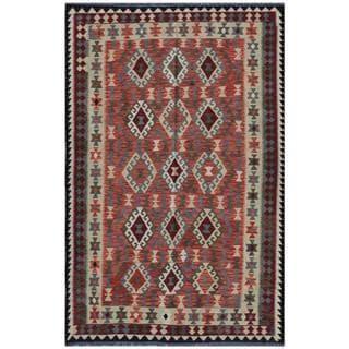 Afghan Hand-woven Kilim Salmon/ Beige Wool Rug (9' x 13'4)