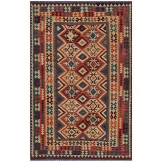 Herat Oriental Afghan Hand-woven Kilim Salmon/ Blue Wool Rug (5'9 x 9'3)
