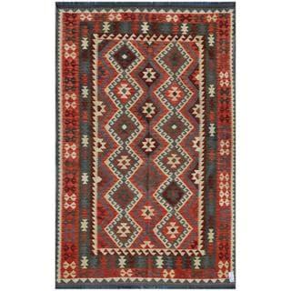 Herat Oriental Afghan Hand-woven Kilim Rose/ Maroon Wool Rug (5'6 x 9'1)