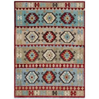 Afghan Hand-woven Kilim Red/ Light Blue Wool Rug (5'5 x 7'5)
