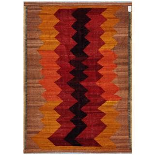 Afghan Hand-woven Kilim Tan/ Red Wool Rug (5'7 x 7'10)
