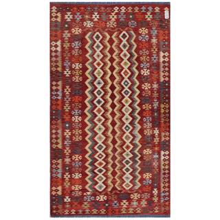 Herat Oriental Afghan Hand-woven Kilim Red/ Beige Wool Rug (4'10 x 8'4)