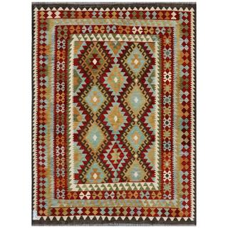 Afghan Hand-woven Kilim Gold/ Red Wool Rug (8'2 x 13'5)