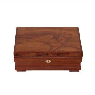 Burl Wood Pattern Locking Jewelry Collection Box