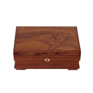Burl Wood Pattern Locking Jewelry Collection Box