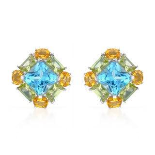 14k White Gold Blue Topaz Star and Multi-gemstone Earrings