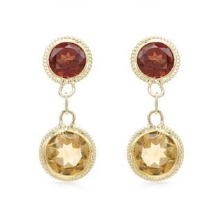 14k Yellow Gold Garnet and Citrine Earrings