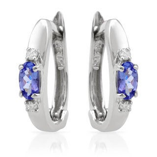 14k White Gold Tanzanite and Diamond Accent Earrings
