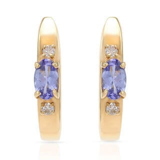 14k Yellow Gold Tanzanite and Diamond Accent Earrings