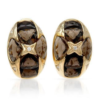 14k Yellow Gold Smokey Quartz and Diamond Accent Earrings