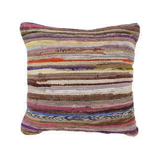 Multicolored Cotton Chindi Throw Pillow (India)
