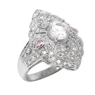De Buman 14k White Gold 1 3/4ct TDW Round-cut Diamond and Pink Sapphire Ring (H-I, I1-I2)