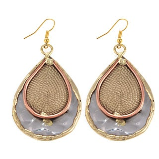 Handcrafted Mixed Metals Stainless Steel Rope Paisley Earrings (India)