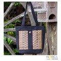 Cotton 'Lotus Gold' Medium Tote Bag (Thailand)