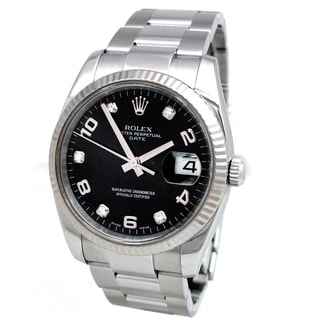 Pre-Owned Rolex Men's Midsize Stainless Steel Diamond Date Watch