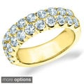 14k White or Yellow Gold 2ct TDW Machine-set Double 2-Row Bliss Diamond Ring (H-I, I1-I2)
