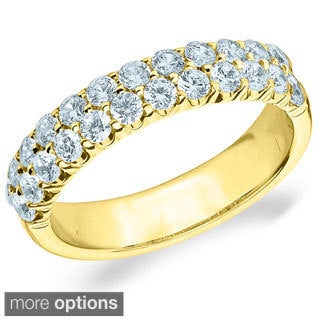 14k White or Yellow Gold 1ct TDW Machine-set Double 2-row Diamond Ring (H-I, I1-I2)