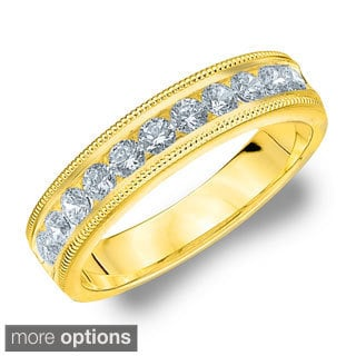 14k White or Yellow Gold 1/2ct TDW Machine-set Milgrain Diamond Wedding Band (H-I, I1-I2)